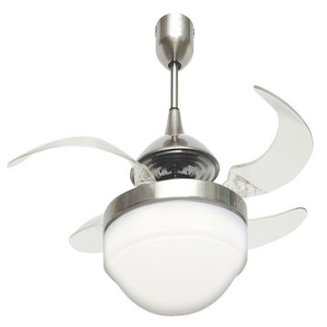 Hong Kong SAR Fanaway Evo2 Endure Brushed Chrome Ceiling Fan With Clear Retractable  Blades And Light
