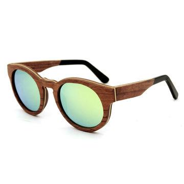 China 100% wooden sunglasses, men's UV mirror sunglasses/women's polarized sunglasses with logo