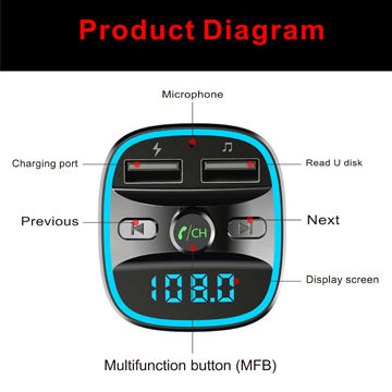 China Car Bluetooth FM transmitter wireless 2USB charger from