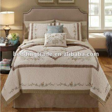 ... China 100% Cotton Quilting Bedspread 3 Piece Queen Size Quilt Set  Cotton Bedding Set