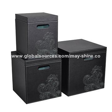 China Faux Leather 3 Set Square Storage Bo