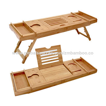 Bamboo Bathroom Tray Telescoping Bathtub Desk For Phone Laptop Notebook Wine Glasses Candles Bathroom Holder Home Improvement