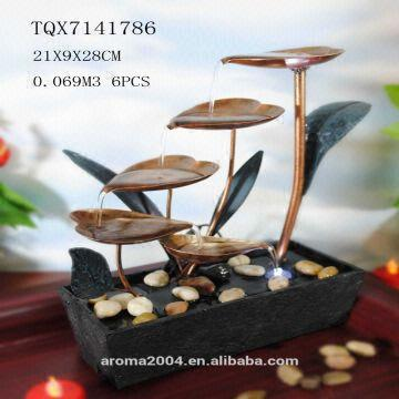 China Home Decoration Water Fountain Metal Craft Small Tabletop Decor Battery Operated Available