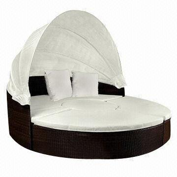 Garden Furniture Bed wicker garden furniture, circle bed, includes cushion, measuring