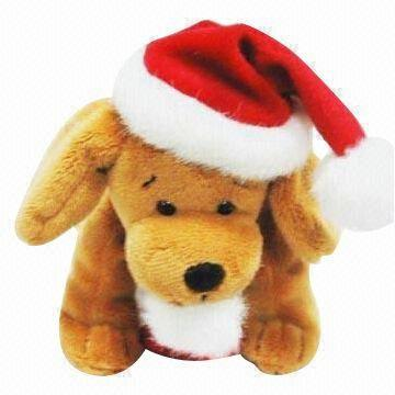 China Stuffed Plush Toy Christmas Dog With Hat And Sock On Global