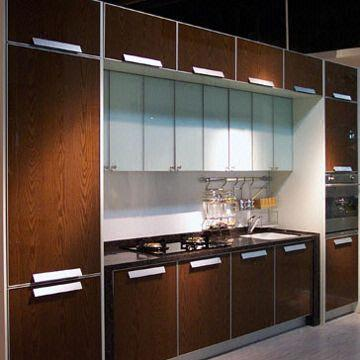 Kitchen cabinet doors made of special laminated tempered for Kitchen set aluminium modern