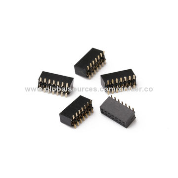China 1.27mm Female Headers, female header long pins, H=4.3mm with 1.0A Current rating, SMT Type