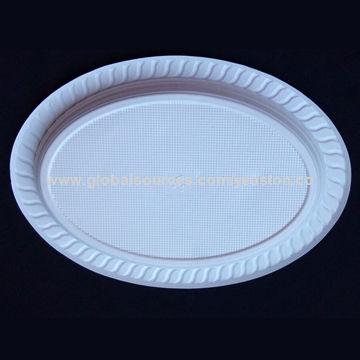 Disposable plastic plate, unique oval shape, white PS material ...