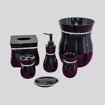 6 Pieces Black Polyresin Bathroom Set