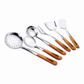 Kitchen Materials kitchen utensils with wooden handle, stainless steel 201# material