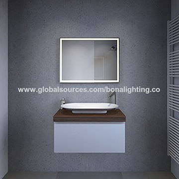 China Ip44 Led Backlit Mirror 800 X 800mm Sandblasted Border On