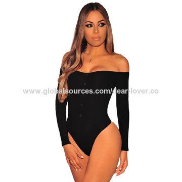 31337a70539 China Punto acanalado negro del mono de las mujeres largas de las mangas  del hombro ...