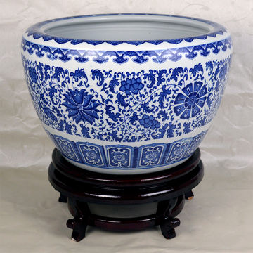 China 16 Diameter Blue And White Porcelain Fish Bowl With Wooden Stand