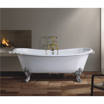 ... China Factory Directly Sales Freestanding Claw Foot Double End Enamel  Cast Iron Bathtub ...