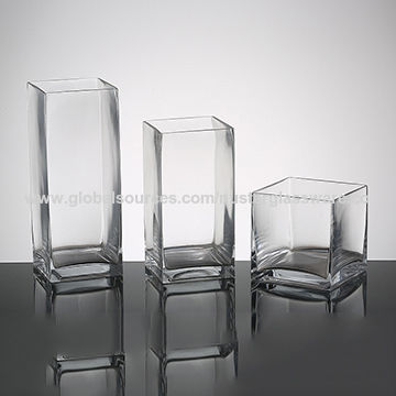 China Clear Handmade Square Glass Vase From Qingdao Wholesaler