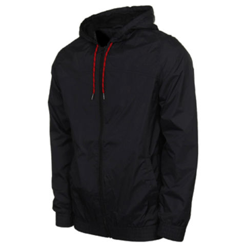 China Cheap polyester men's windbreakers, jackets w/ hood in