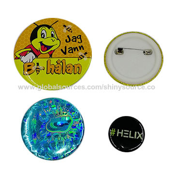 China Metal Tin Button Badge with Safety Lapel Pin