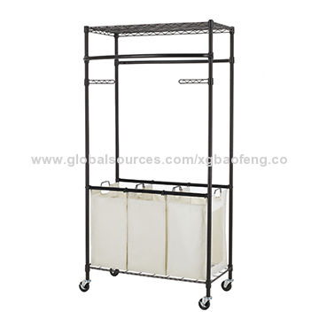 China 2 Tier Garment Rack With 3 Bag Laundry Sorter W Wheels