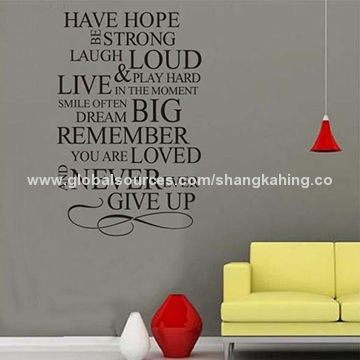 5bc89317c2 China Removable vinyl wall quote home rules wall sticker for living room
