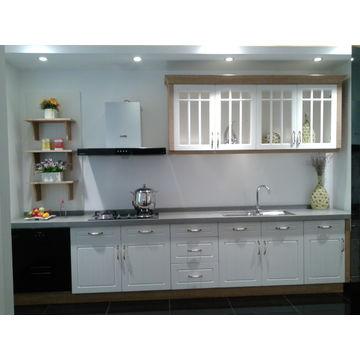 ... China Vinyl wrap door panel kitchen cabinet modern style ...