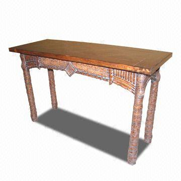 Console Table Made Of Gmelina With Cherry Crown And Birch Veneer On