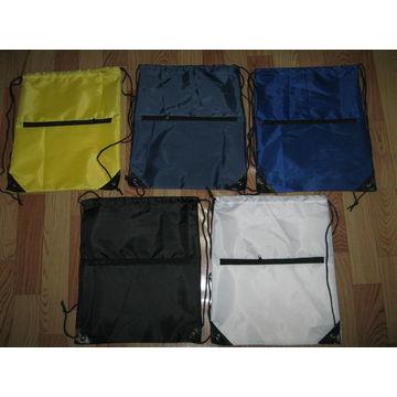 China Promotional Usage Zipper Pocket Polyester Drawstring Bag