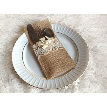 Burlap And Lace Rustic Silverware Holder China