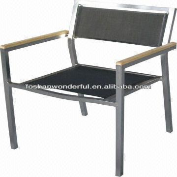 china outdoor garden furniture stainless steel garden chairs with teak wf 2206s - Garden Furniture Steel