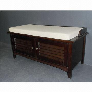 Wooden bench and shoe cabinet in walnut color global sources Shoe cabinet bench