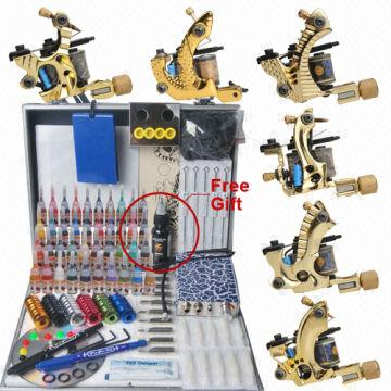 Tattoo Kit 6 Gun Machines 40 Ink Set Tattoo Power Supply Grips Tips