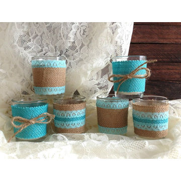 China Burlap And Lace Tiffany Blue Votive Tea Candles De