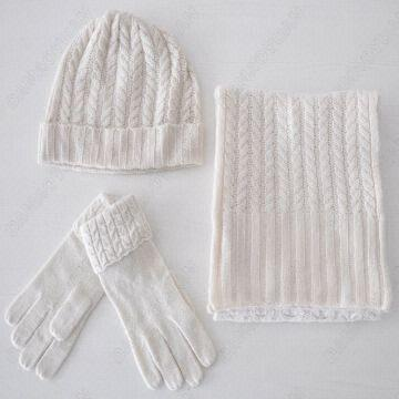 861945d4b39 China 100% Cashmere Knitted Scarf hat glove Sets