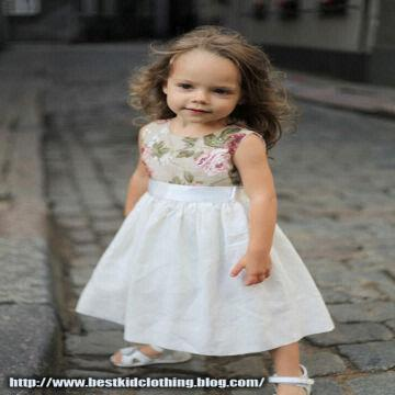 22a638443ca ... Latvia Girls white grey dress D20 Swarovski crystals flower linen  special occasion