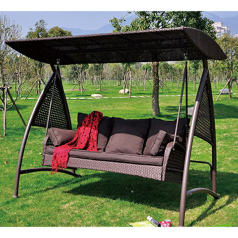China Luxury 3 Seats Rattan Wicker Patio Swing With Adjustable Tilt Canopy,  With Seat And ...