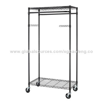 china 2tier rolling clothing garment rack shelving wire shelfbronze