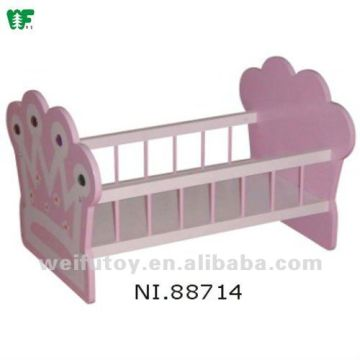 Doll Furniture Wooden Baby Doll Cradle 1 Pink Pad And Ring Bell