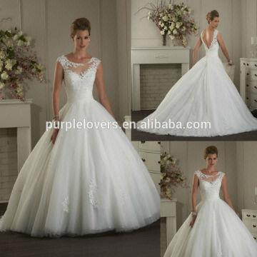 China Formal Short Cap Sleeve Backless Appliqued Ball Gown Wedding Dress