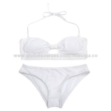 28135ea097175 ... China RELLECIGA Jacquard Fabric Bandeau Top Bikini with Removable  Halter Straps and A Peekaboo Front ...