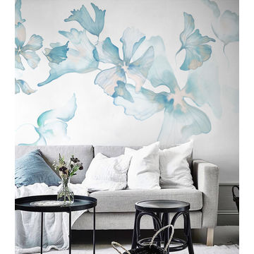 China Gris 3D Hand Painted Design Floral Wallpaper Plant Fiber Substrates Wall Mural With Custom