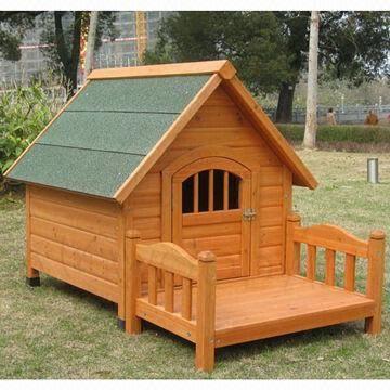 Kenneldog House Made Of Fir With Veranda Raised Off Floor Door