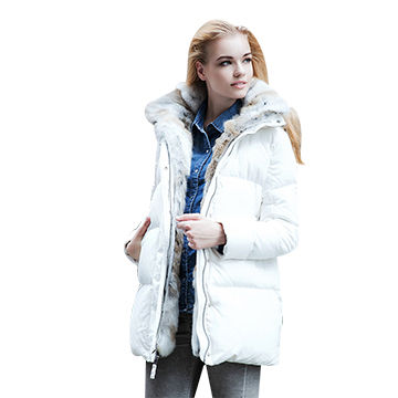 Women's white down jacket with hood | Global Sources