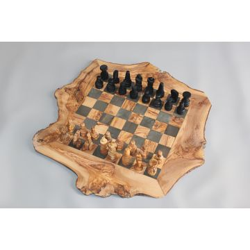 ... Tunisia Engraved Olive Wood Rustic Chess Set