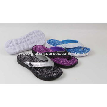 32122cfa8ba1 ... China EVA Injection Outsole Soft Memory Foaming Insole PU Strap Women s  Casual Flip Flops ...