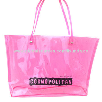 Pink color clear PVC beach tote bag promotional project | Global ...