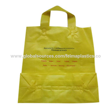 China Hdpe Printed Square Bottom Ping Bag Carry Plastic