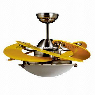 Yellow Ceiling Fan: Sunflower Design Ceiling Fan Light with Five Non-UV Yellow Blades and  Three-speed,Lighting