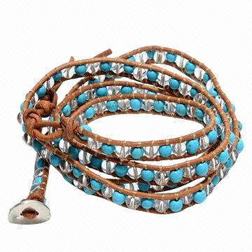 China Women S Blue Turquoise Clear Crystal Beads Handmade Leather Wrap Bracelet Oem Services Welcome