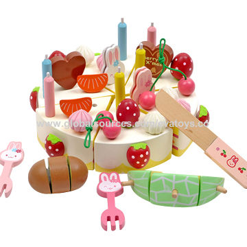 China 2015 Novelty Childrens Wooden Cutting Birthday Cake Toy Unit