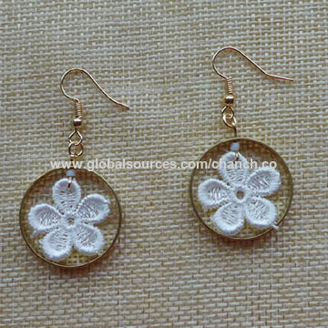 573d5ab4a53 Natural Flower Lace Hoop Earrings China Natural Flower Lace Hoop Earrings