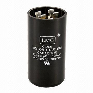 Motor Start Capacitor with 110 to 330V AC Rated Voltage and -10 to